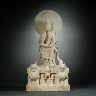 Northern Qi, White Marble Avalokitesvara Statue