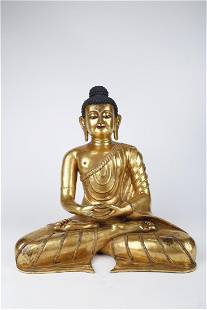 A GILT COPPER SAKYAMUNI BUDDHA STATUE, MING DYN.