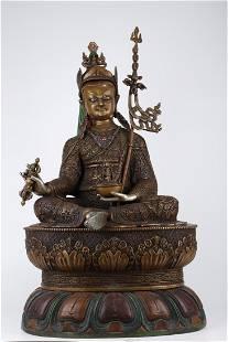 A COPPER PADMA SAMBHAVA BUDDHA STATUE, MING DYN.