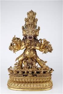 A GILT COPPER YAMANTAKA BUDDHA STATUE