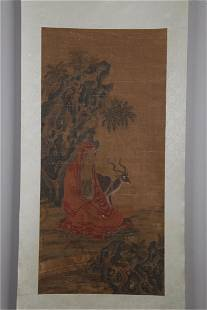 A DIGNITARY FIGURE PAINTING ON SILK