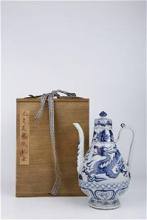 A BLUE-AND-WHITE POT WITH DRAGON DESIGN