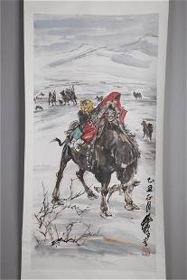 A FIGURE AND CAMEL PAINTING ON PAPER