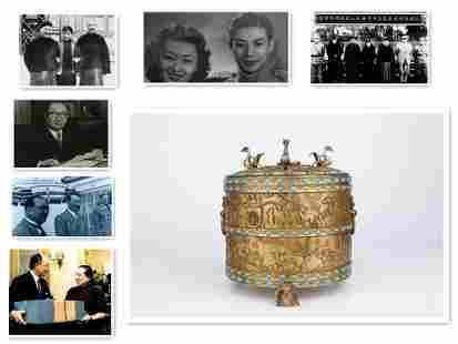 ASIAN - CHINESE GILT COPPER LIDDED JAR HUNTING DESIGN