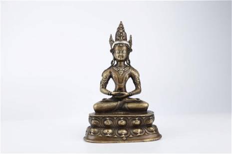 A COPPER LADAKH BUDDHA STATUE