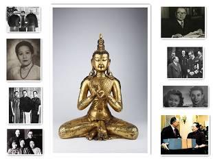 A GILT COPPER MAITREYA BODHISATTVA BUDDHA STATUE
