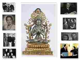 A GILT SILVER BODHISATTVA BUDDHA STATUE.