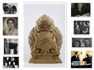 A GILT COPPER BUDDHA STATUE