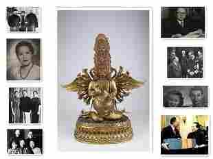 A GILT COPPER BODHISATTVA BUDDHA STATUE