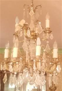 """Crystal and bronze Chandelier 33"""""""