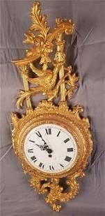 "Gold gilded metal clock 27"" tall"