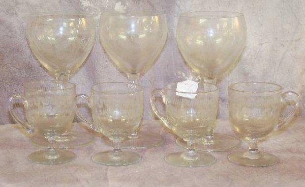 2: 7 PIECE VICTORIAN NEEDLE ETCHED STEMWARE GLASSES