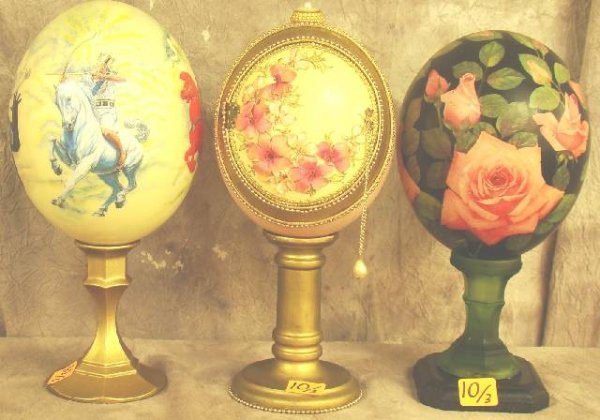 10: 3 HAND PAINTED AFRICAN OSTRICH EGGS