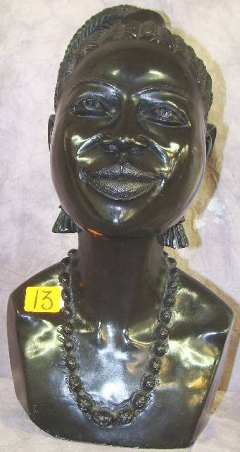 13: HAND CARVED AFRICAN BLACK STONE BUST