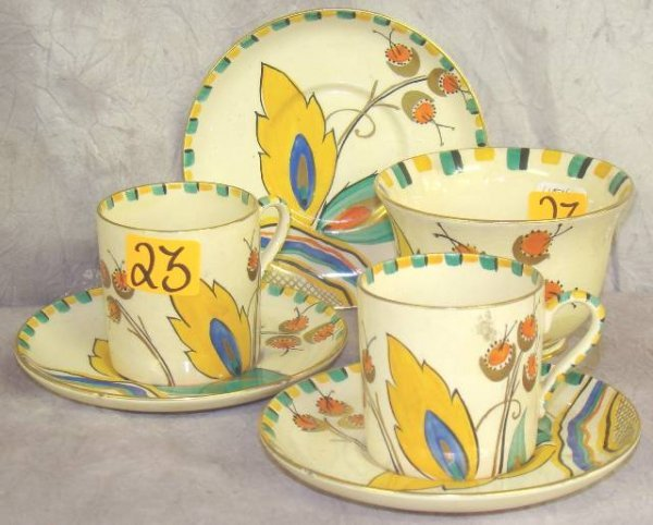 23: ART DECO POTTERY CROWN DEVON COFFEE SET