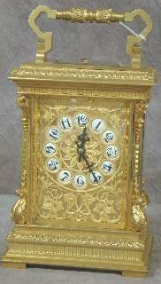 626: FRENCH GILT BRONZE REPEATING CARRIAGE CLOCK, c1880