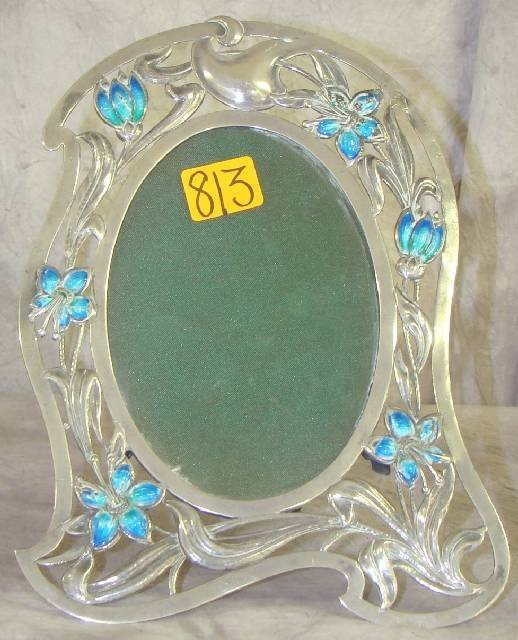 813: ART NOUVEAU SILVER & ENAMELLED PHOTO FRAME