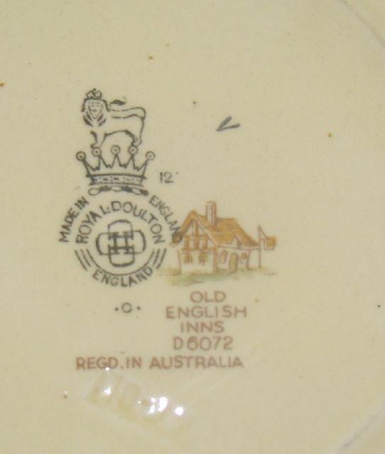 "1203: ROYAL DOULTON ""OLD ENGLISH INNS"" PART TEA SET D60 - 5"