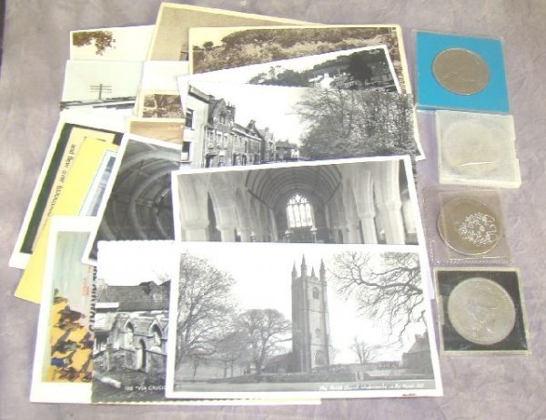 954: LOT POST CARDS & COINS