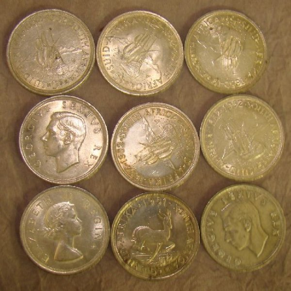 959: 9 x SOUTH AFRICAN SILVER CROWNS / 5s