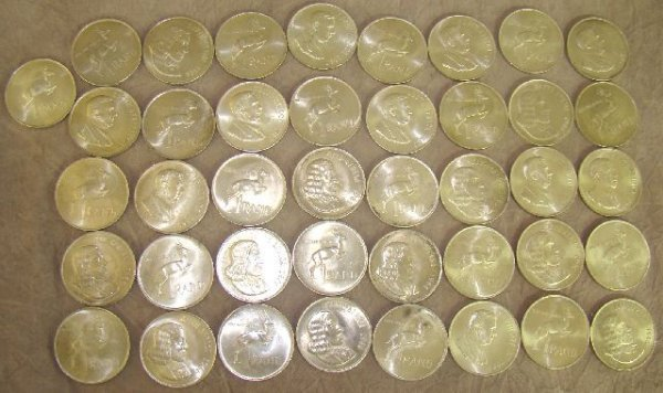 960: 41 SOUTH AFRICAN R1 SILVER COINS
