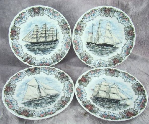 "11: SET OF 4 CHURCHILL ""TALL SHIPS"" PLATES"