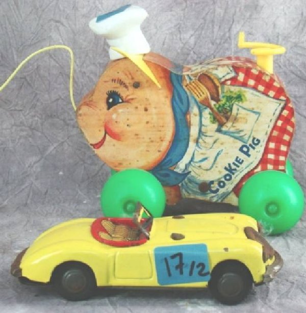 "17: JAPANESE TIN PLATE CAR & FISHER PRICE ""COOKIE PIG"