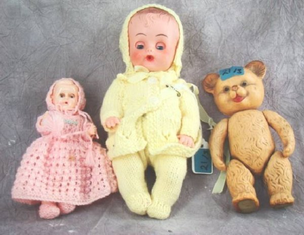 "21: VINTAGE ""ROSE BUD"" BEAR  AND 2 DOLLS"
