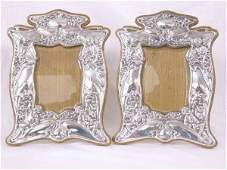 680 PAIR OF ART NOUVEAU SILVER PHOTO FRAMES C1903