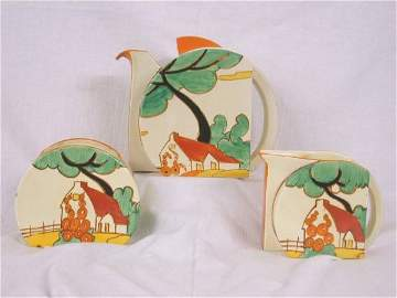 153: CLARICE CLIFF BIZARRE RED ROOFS STAMFORD TEA SET