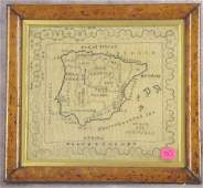 30: 19th C MAP SAMPLER/EMBROIDERY