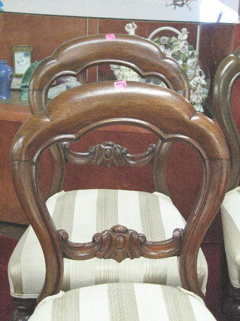 426: SET OF 6 VICTORIAN MAHOGANY BUSTLE BACK CHAIRS, c1 - 2