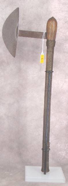 1001: 19th C AXE ON STAND