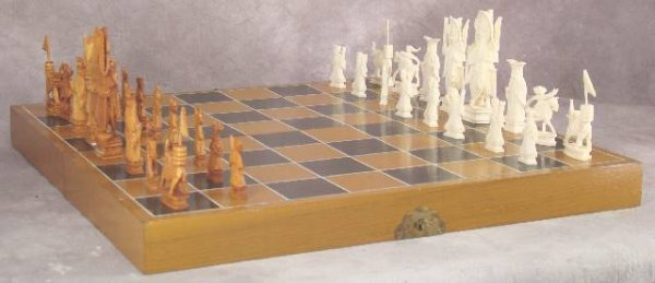 1002: ANTIQUE HAND CARVED IVORY CHESS SET