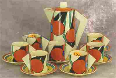 1179: CLARICE CLIFF ART DECO BIZARRE RED PICASSO FLOWER
