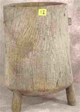 ANTIQUE CARVED AFRICAN WOODEN MILK PALE