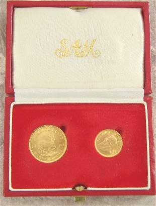CASED 1982 1/4 & 1/10 GOLD KRUGERRAND COINS