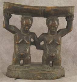 52: ANTIQUE CARVED AFRICAN HEAD REST