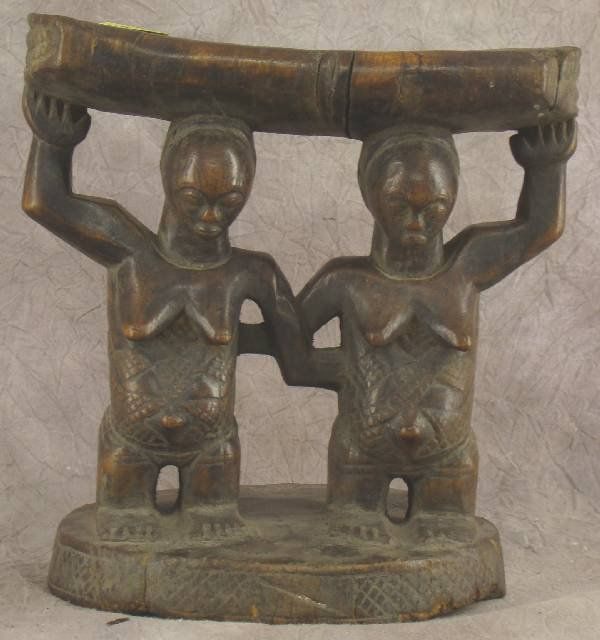 ANTIQUE CARVED AFRICAN HEAD REST