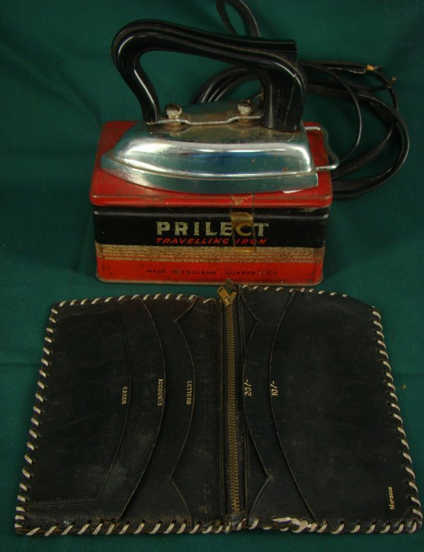 1020: VINTAGE LEATHER WALLET AND BOXED TRAVELLING IRON