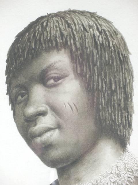 """1215: BHENGU, Gerard (1910 - 1990) WATERCOLOUR """"PORTRAI"""