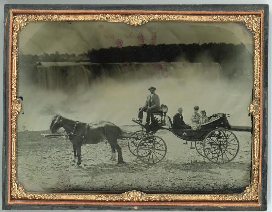 FULL-PLATE AMBROTYPE OF GROUP IN CARRIAGE WITH DRIVER