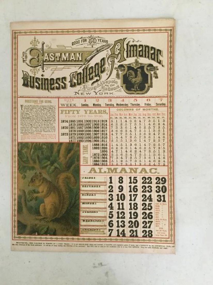 "50 YEAR CALENDAR ""EASTMAN BUSINESS COLLEGE ALMANAC"", AS"