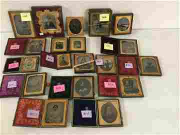 LOT OF 19 IMAGES: 4 SIXTH-PLATE TINTYPES; 8 SIXTH-PLATE