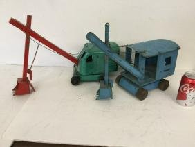 2 Structo Pressed Steel Cranes, Everything In As Found
