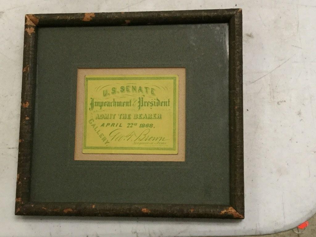ANDREW JOHNSON 1868 IMPEACHMENT TICKET YELLOW BACKGROUN