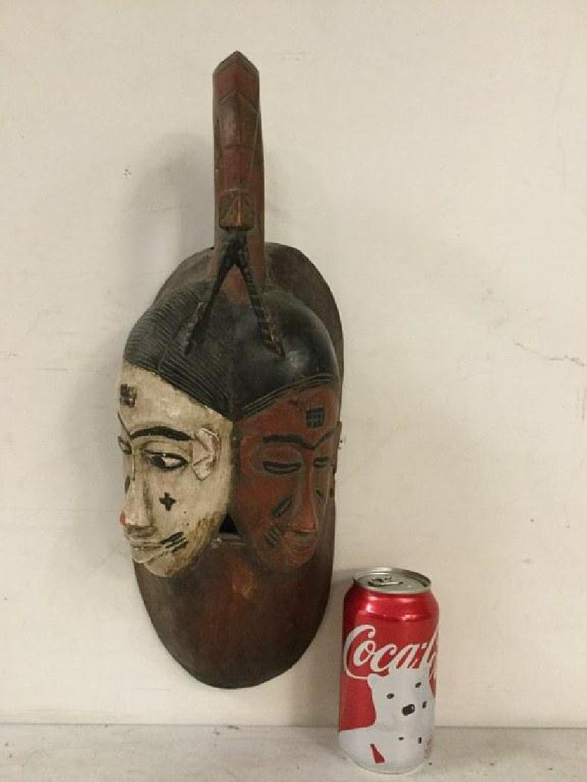 "AFRICAN MASK WITH 2 HEADS, MEASURES 17"" X 6"", ORIGIN"
