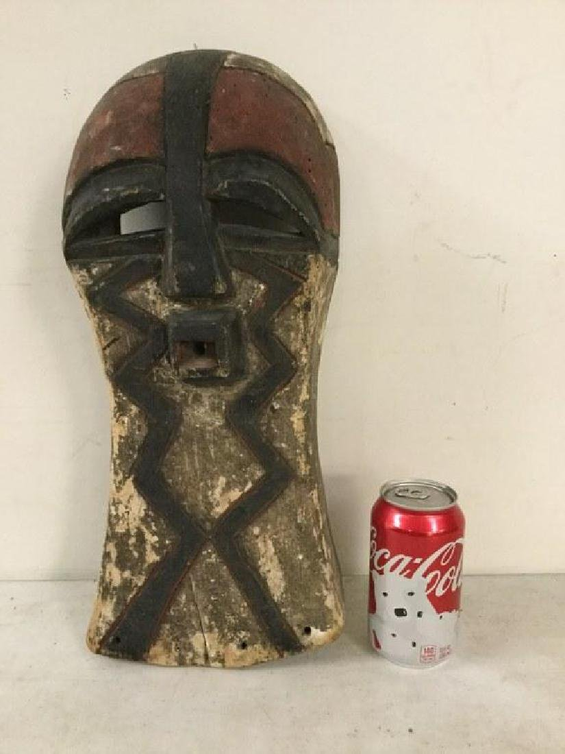 "AFRICAN MASK, MEASURES 17 1/2"" X 7"", ORIGIN UNKNOWN,"