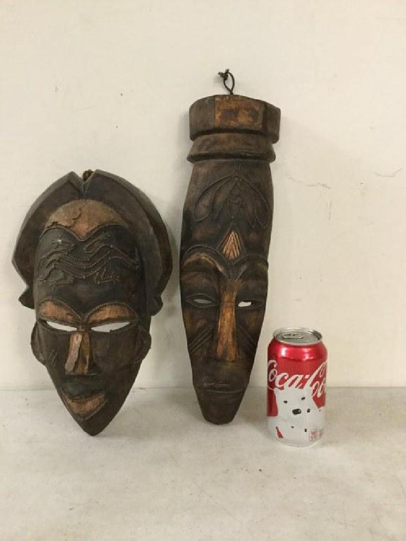 "2 AFRICAN MASKS WITH COPPER TRIM, 1 MEASURES 12 3/4"" X"