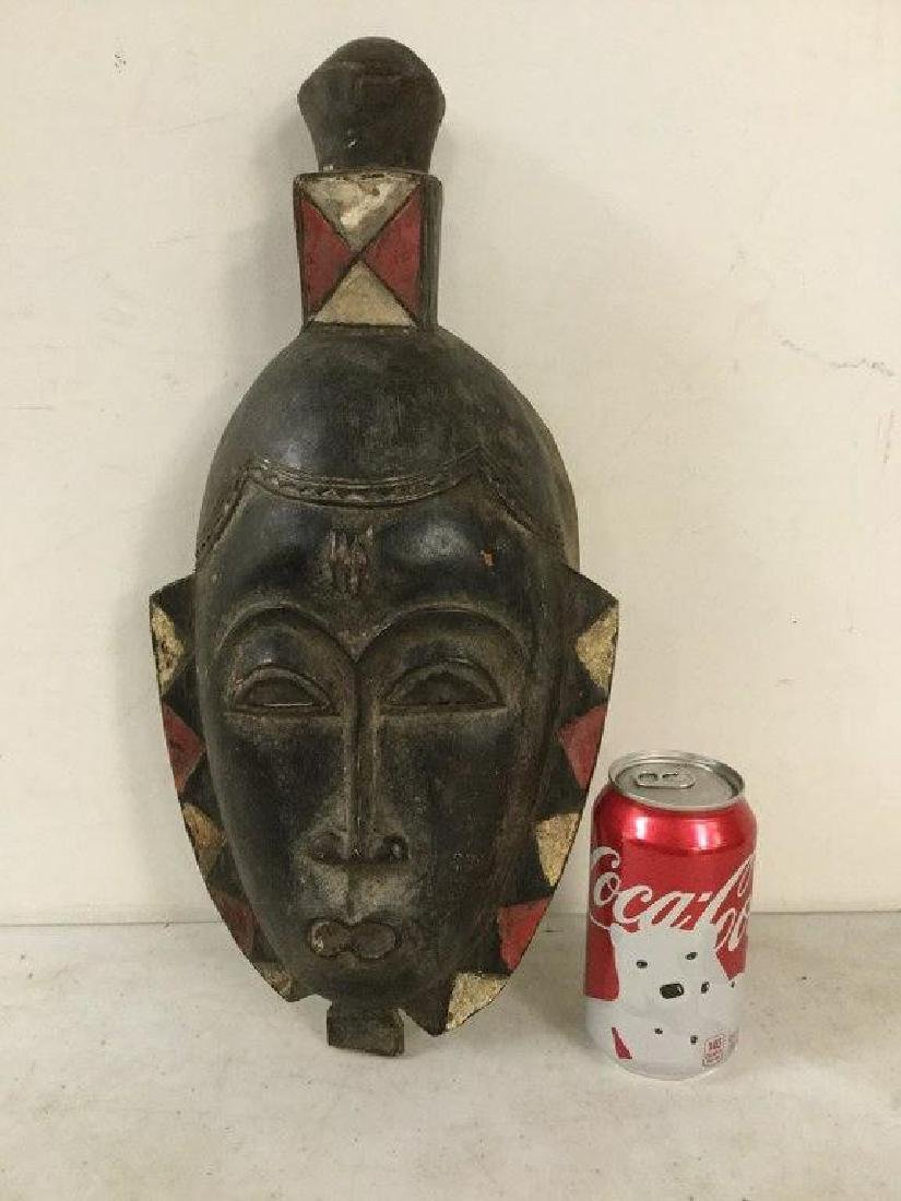"AFRICAN MASK, MEASURES 16 1/2"" X 8"", ORIGIN UNKNOWN,"